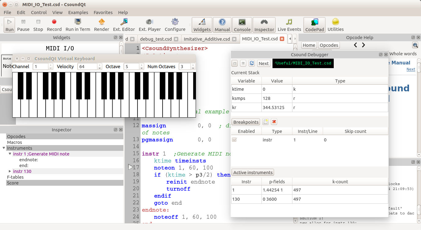 CsoundQt Debugger screenshot